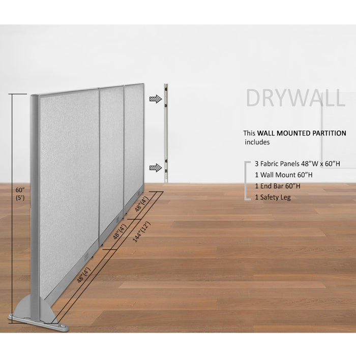 GOF Wallmounted Office Partition  144W x 60H - Kainosbuy.com