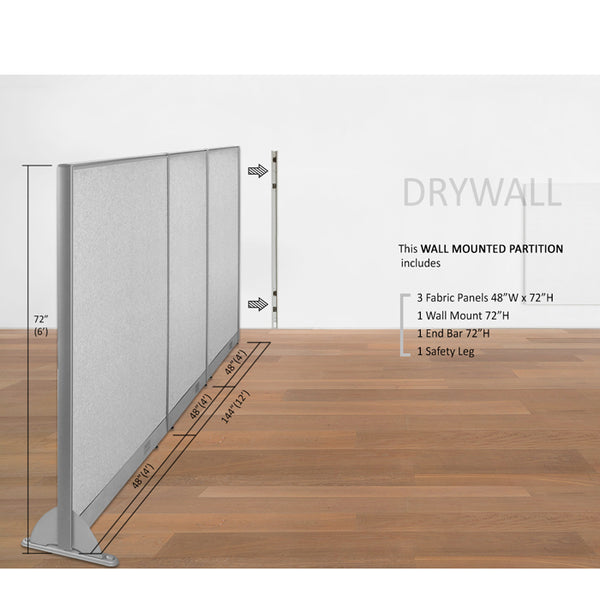 GOF Wallmounted Office Partition 144W x 72H - Kainosbuy.com
