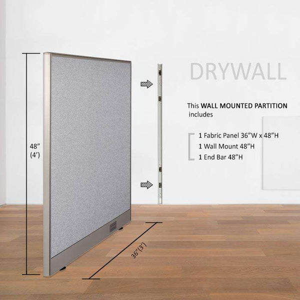 GOF Wallmounted Office Partition<BR>36W x 48H - Kainosbuy.com