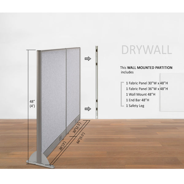 GOF Wallmounted Office Partition<BR>66W x 48H - Kainosbuy.com