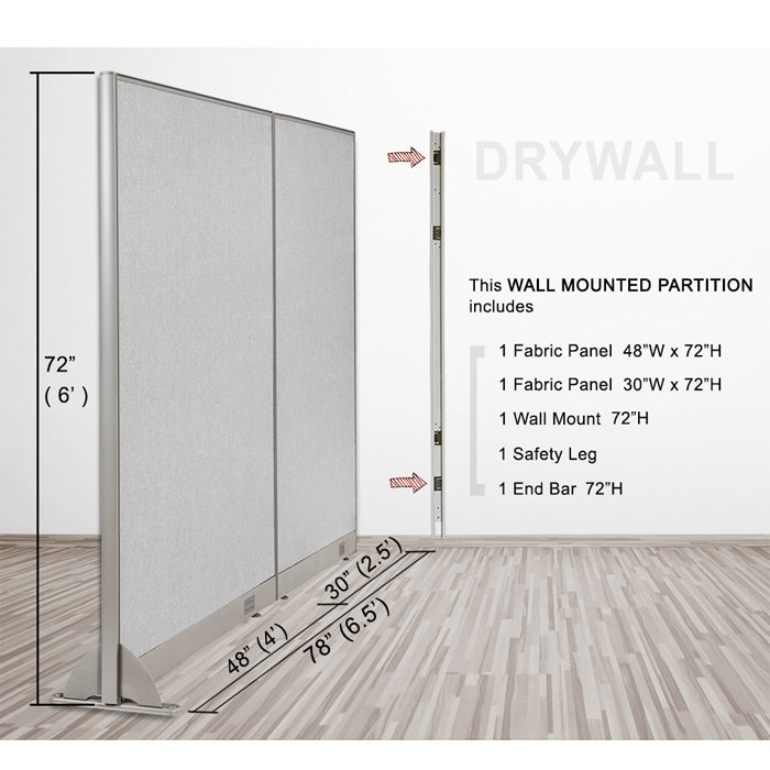 GOF Wallmounted Office Partition<BR>78W x 72H - Kainosbuy.com