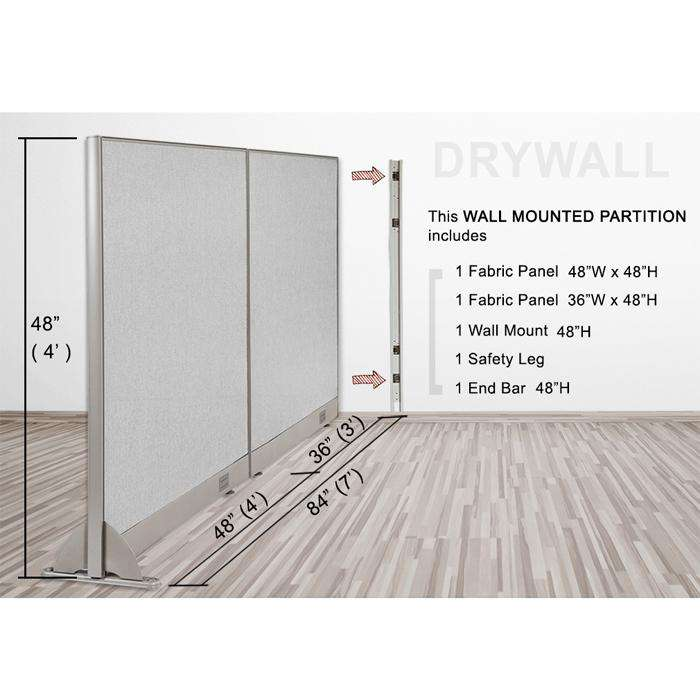 GOF Wallmounted Office Partition<BR>84W x 48H - Kainosbuy.com