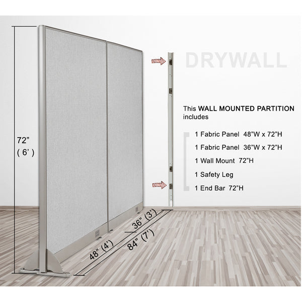 GOF Wallmounted Office Partition<BR>84W x 72H - Kainosbuy.com