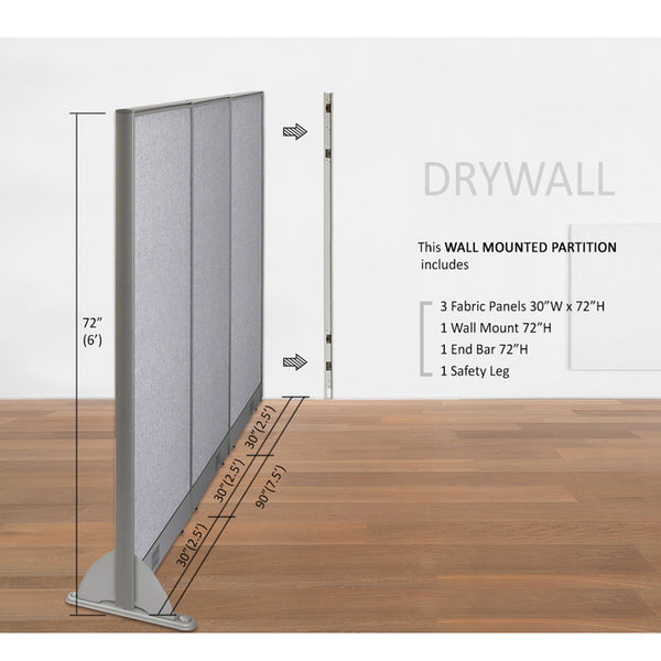GOF Wallmounted Office Partition<BR>90W x 72H - Kainosbuy.com