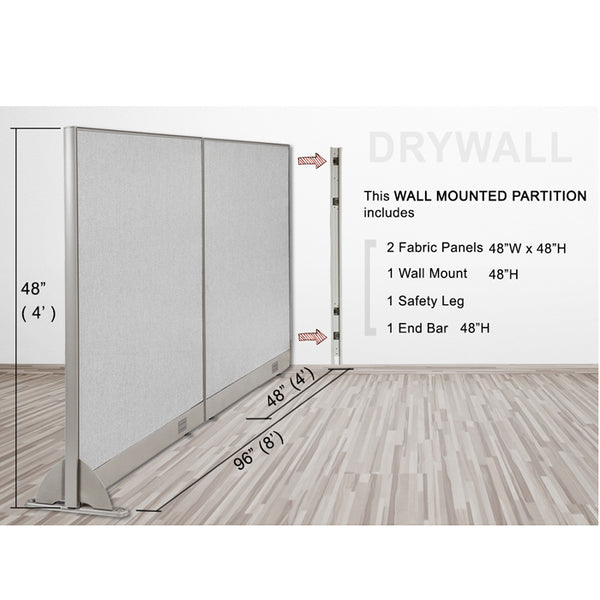 GOF Wallmounted Office Partition<BR>96W x 48H - Kainosbuy.com