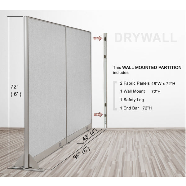 GOF Wallmounted Office Partition<BR>96W x 72H - Kainosbuy.com