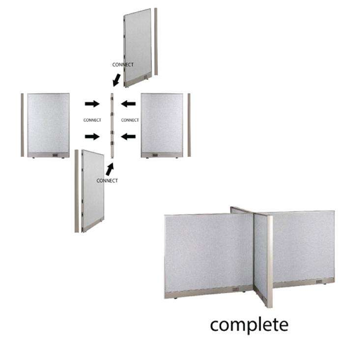 GOF Office X-Shaped Partition 96D x 204W x 48H - Kainosbuy.com