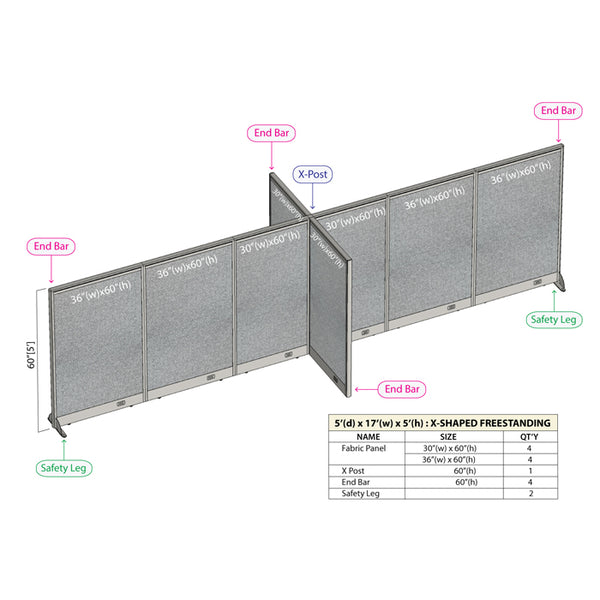 GOF Office X-Shaped Partition 60D x 204W x 60H - Kainosbuy.com