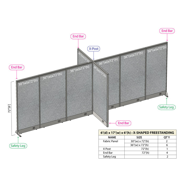 GOF Office X-Shaped Partition 72D x 204W x 72H - Kainosbuy.com