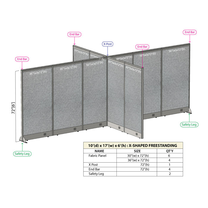 GOF Office X-Shaped Partition 120D x 204Wx 72H - Kainosbuy.com