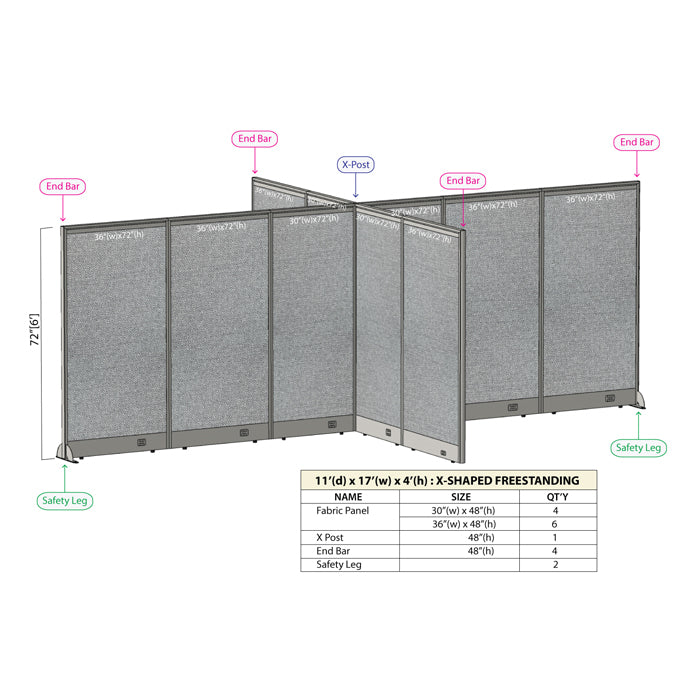 GOF Office X-Shaped Partition 132D x 204W x 72H - Kainosbuy.com