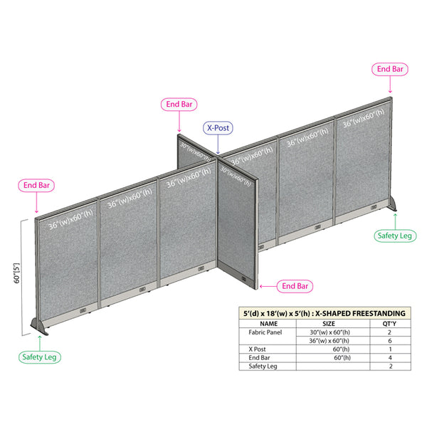 GOF Office X-Shaped Partition 60D x 216W x 60H - Kainosbuy.com