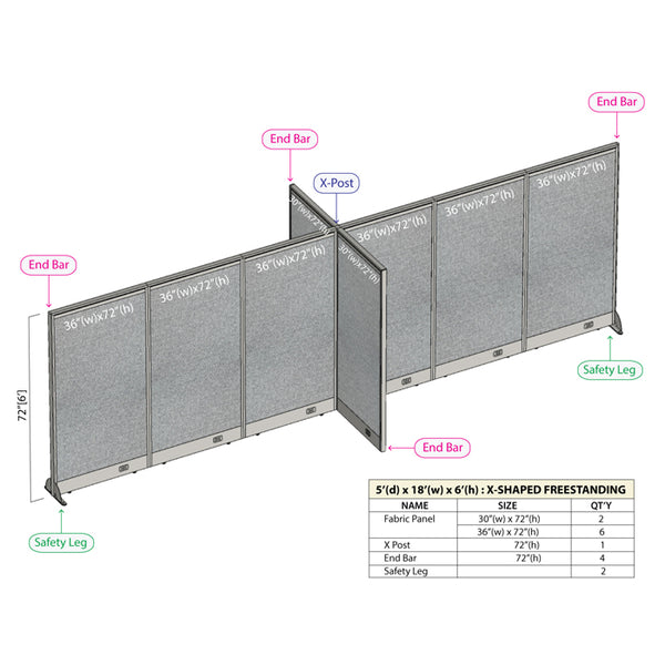 GOF Office X-Shaped Partition 60D x 216W x 72H - Kainosbuy.com