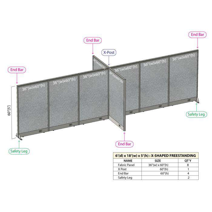 GOF Office X-Shaped Partition 72D x 216W x 60H - Kainosbuy.com