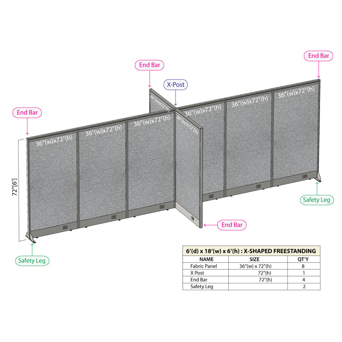 GOF Office X-Shaped Partition 72D x 216W x 72H - Kainosbuy.com