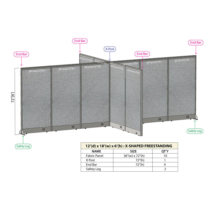 GOF Office X-Shaped Partition 144D x 216W x 72H - Kainosbuy.com