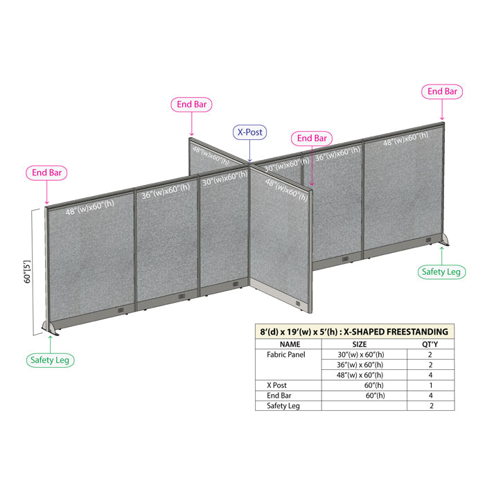 GOF Office X-Shaped Partition 96D x 228W x 60H - Kainosbuy.com