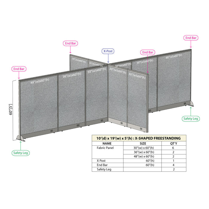 GOF Office X-Shaped Partition 120D x 228W x 60H - Kainosbuy.com