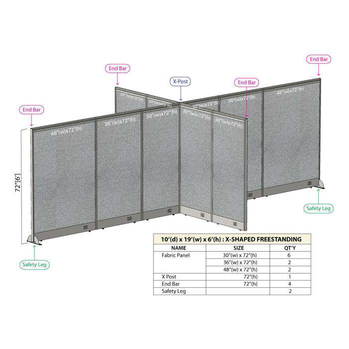 GOF Office X-Shaped Partition 120D x 228W x 72H - Kainosbuy.com