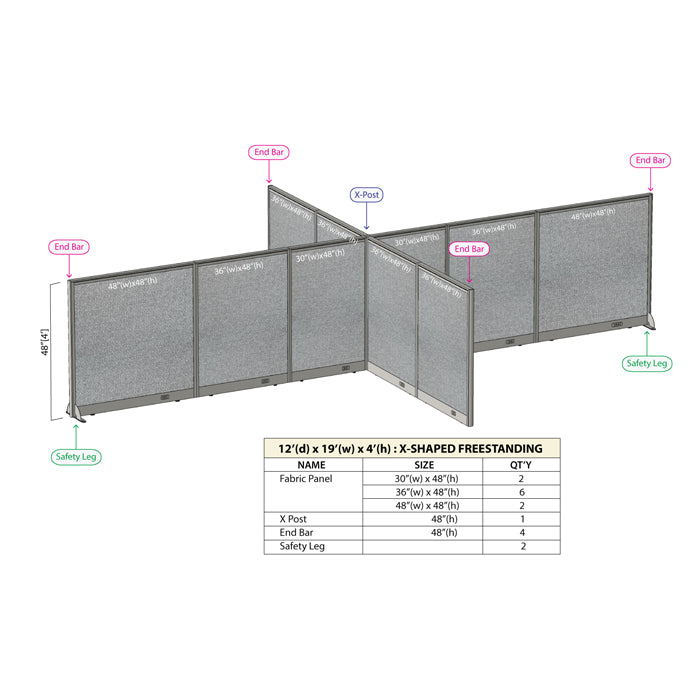 GOF Office X-Shaped Partition 144D x 228W x 48H - Kainosbuy.com