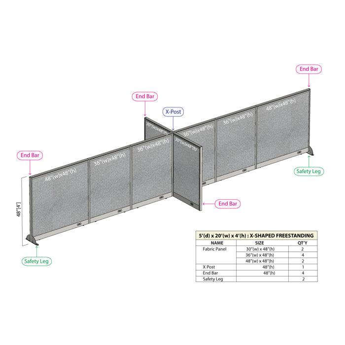 GOF Office X-Shaped Partition 60D x 240W x 48H - Kainosbuy.com