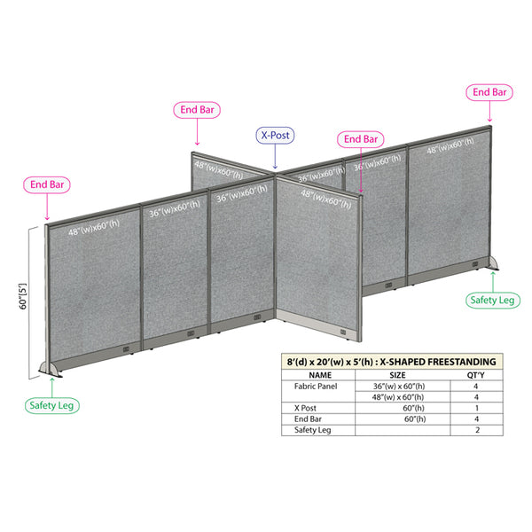 GOF Office X-Shaped Partition 96D x 240Wx 60H - Kainosbuy.com