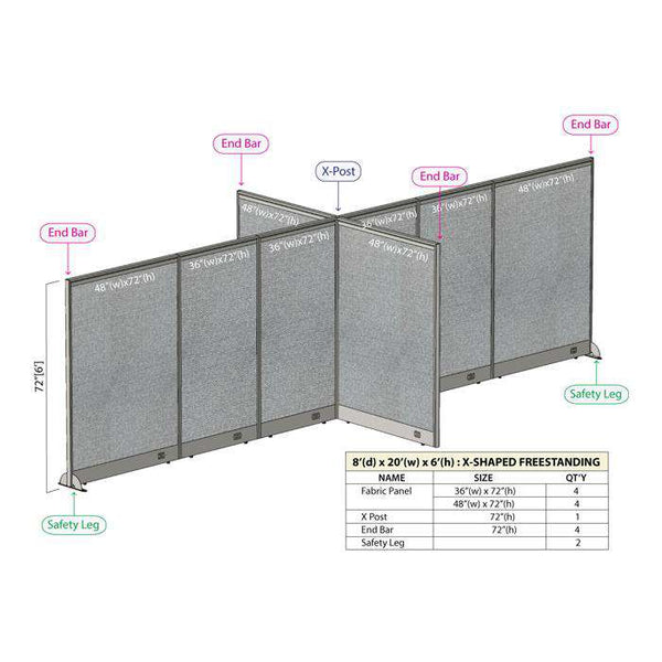 GOF Office X-Shaped Partition 96D x 240Wx 72H - Kainosbuy.com