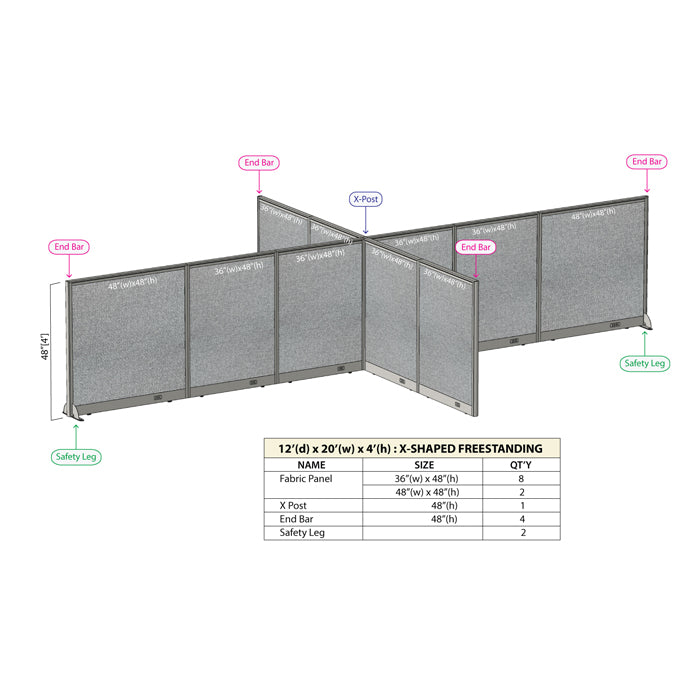 GOF Office X-Shaped Partition 144D x 240W x 48H - Kainosbuy.com