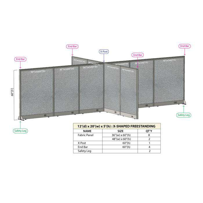 GOF Office X-Shaped Partition 144D x 240W x 60H - Kainosbuy.com