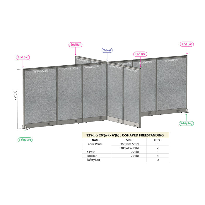 GOF Office X-Shaped Partition 144D x 240W x 72H - Kainosbuy.com