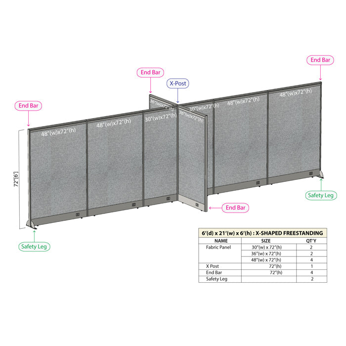 GOF Office X-Shaped Partition 72D x 252W x 72H - Kainosbuy.com