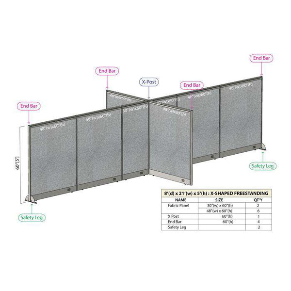 GOF Office X-Shaped Partition 96D x 252W x 60H - Kainosbuy.com