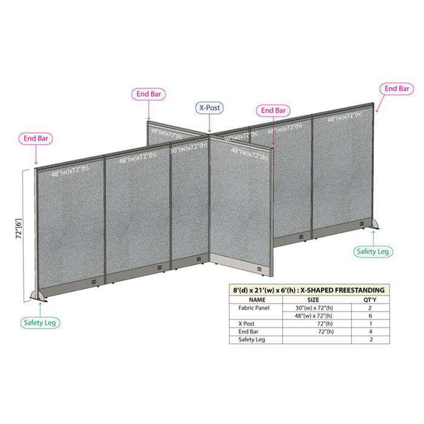GOF Office X-Shaped Partition 96D x 252W x 72H - Kainosbuy.com