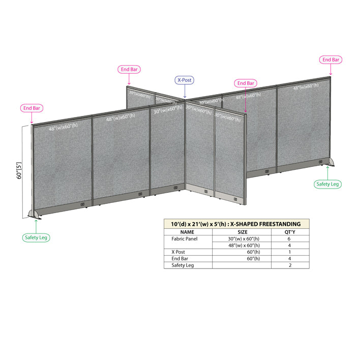 GOF Office X-Shaped Partition 120D x 252W x 60H - Kainosbuy.com