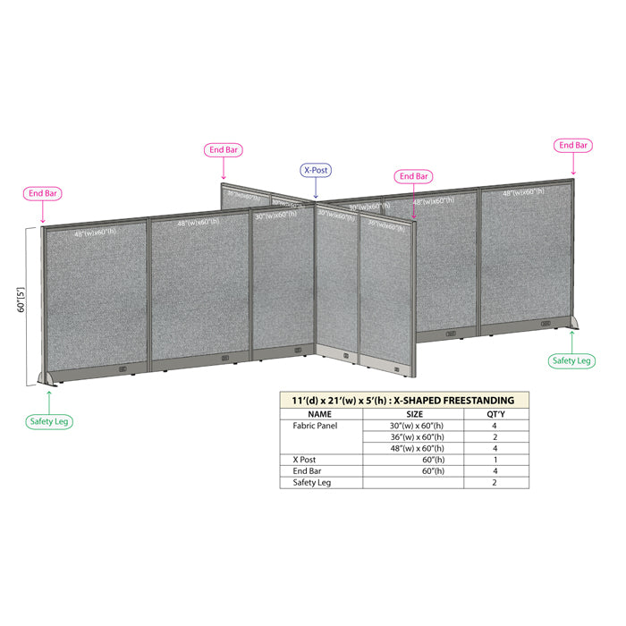 GOF Office X-Shaped Partition 132D x 252W x 60H - Kainosbuy.com