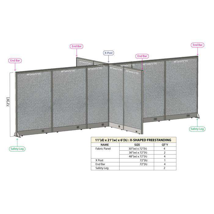GOF Office X-Shaped Partition 132D x 252W x 72H - Kainosbuy.com