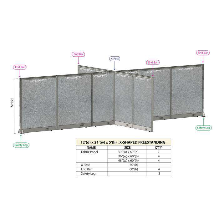 GOF Office X-Shaped Partition 144D x 252W x 60H - Kainosbuy.com
