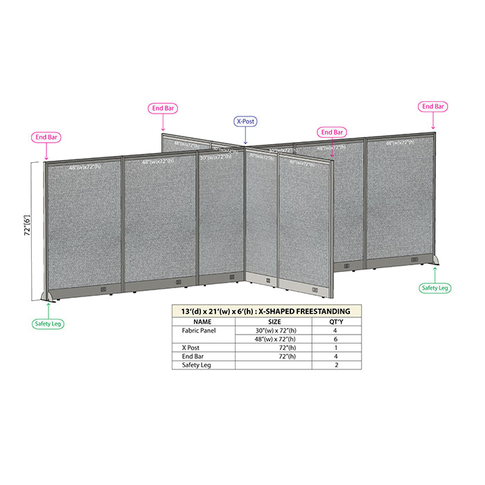 GOF Office X-Shaped Partition 156D x 252W x 72H - Kainosbuy.com
