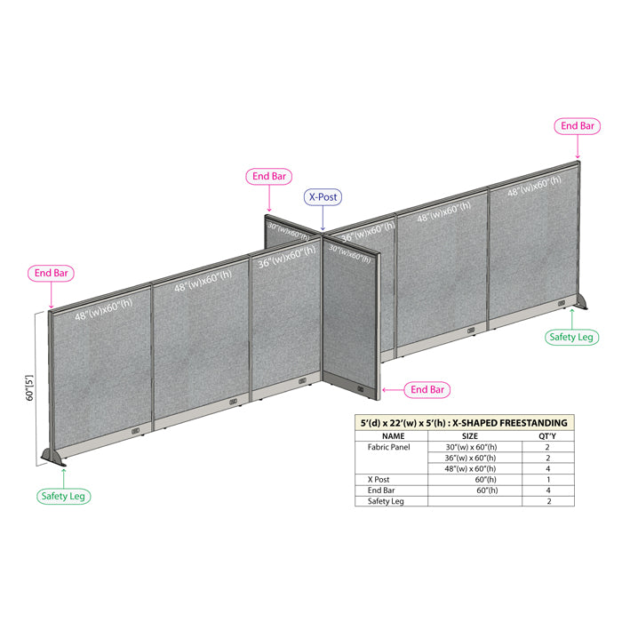 GOF Office X-Shaped Partition 60D x 264W x 60H - Kainosbuy.com
