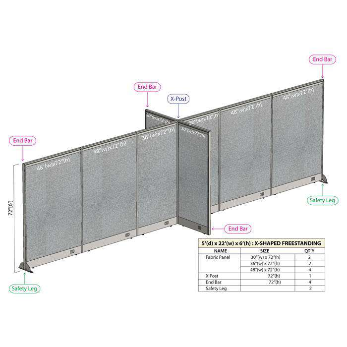 GOF Office X-Shaped Partition 60D x 264W x 72H - Kainosbuy.com