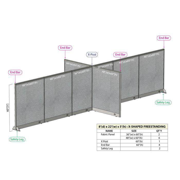 GOF Office X-Shaped Partition 96D x 264Wx 60H - Kainosbuy.com