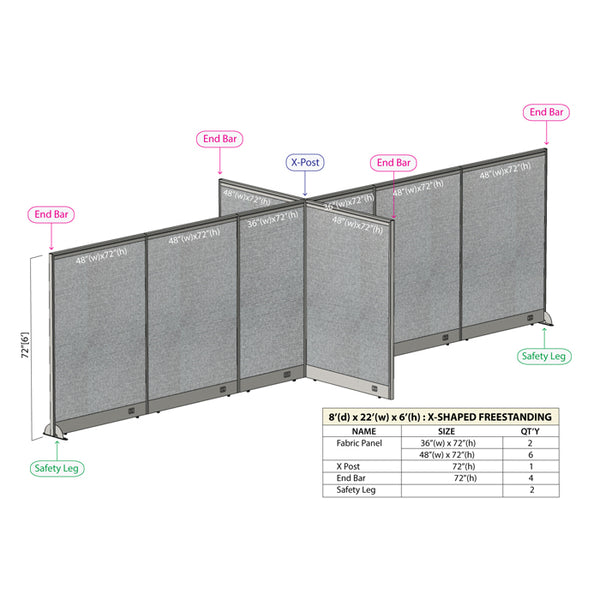 GOF Office X-Shaped Partition 96D x 264Wx 72H - Kainosbuy.com