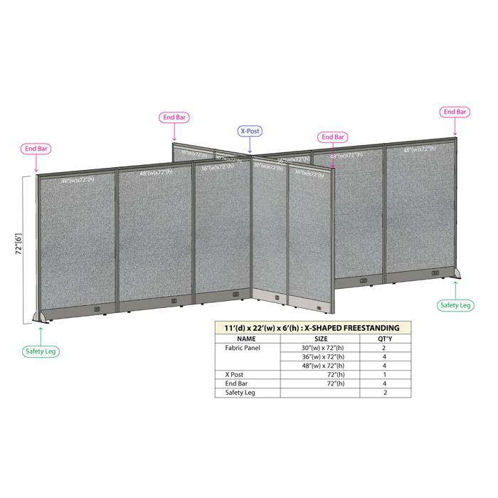 GOF Office X-Shaped Partition 132D x 264W x 72H - Kainosbuy.com