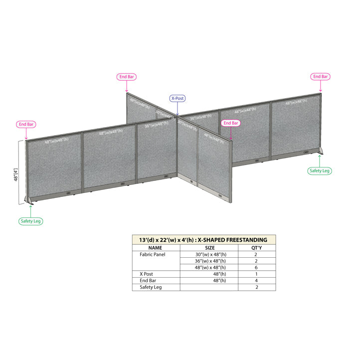 GOF Office X-Shaped Partition 156D x 264W x 48H - Kainosbuy.com