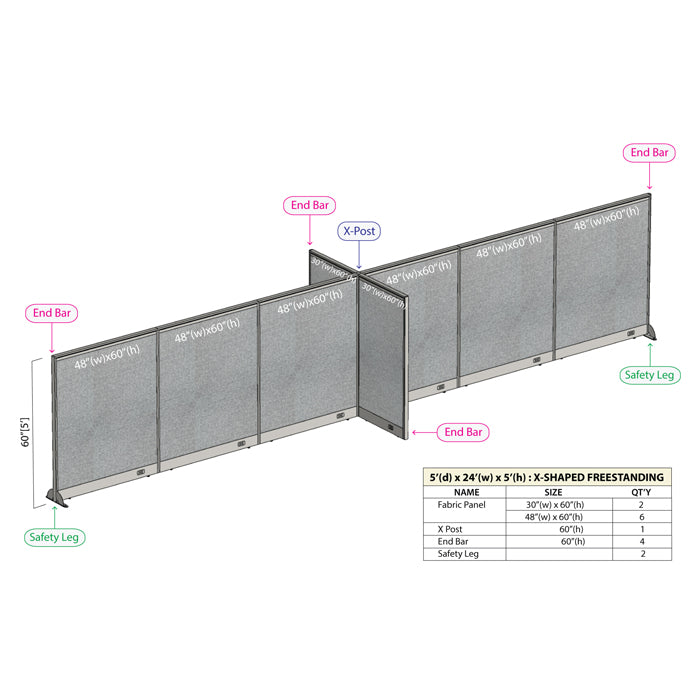 GOF Office X-Shaped Partition 60D x 288W x 60H - Kainosbuy.com