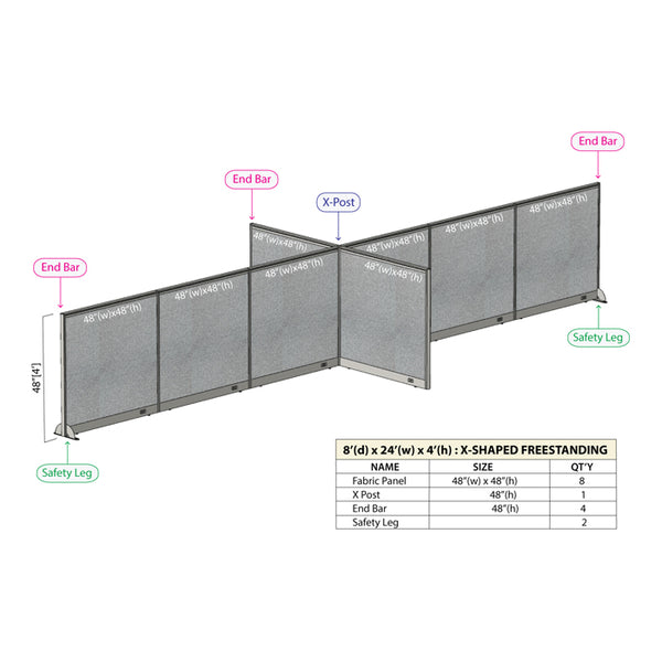 GOF Office X-Shaped Partition 96D x 288Wx 48H - Kainosbuy.com
