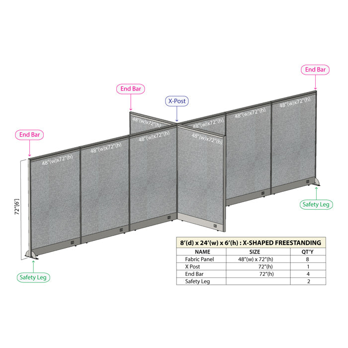 GOF Office X-Shaped Partition 96D x 288Wx 72H - Kainosbuy.com