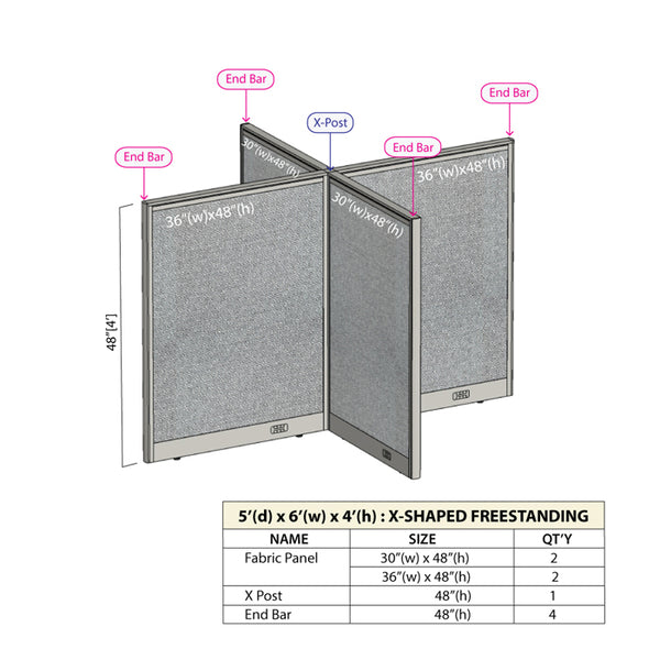 GOF Office X-Shaped Partition 60D x 72W x 48H - Kainosbuy.com