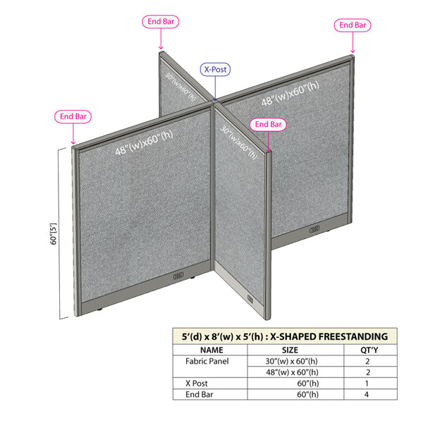 GOF Office X-Shaped Partition 60D x 96W x 60H - Kainosbuy.com