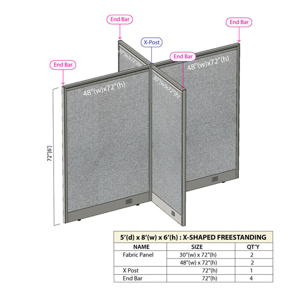 GOF Office X-Shaped Partition 60D x 96W x 72H - Kainosbuy.com